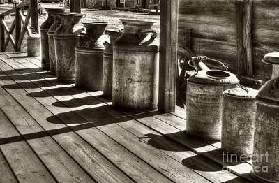Photograph - Rusty Western Cans #1 Sepia Tone by Mel Steinhauer