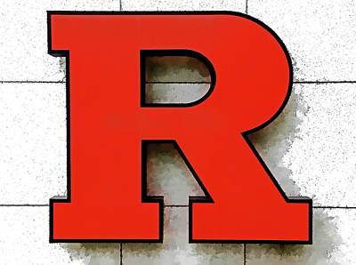 Photograph - Rutgers Block R # 5 by Allen Beatty