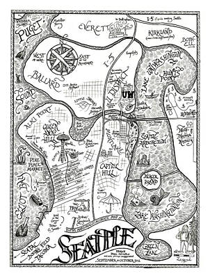Drawing - Ruth's Marginally Accurate Map Of Seattle Drawn From Memory by Ruth Hulbert