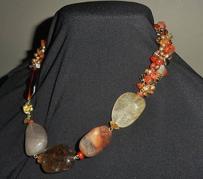 Wire Wrap Jewelry Jewelry - Rutilated Quartz, Carnelian Necklace by Karen Matthews