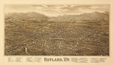Rutland Painting - Antique Rutland, Vt. by Burleigh Litho