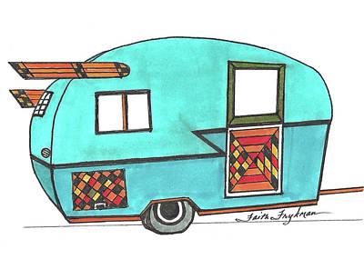 Rv Aqua With Wings Art Print by Faith Frykman