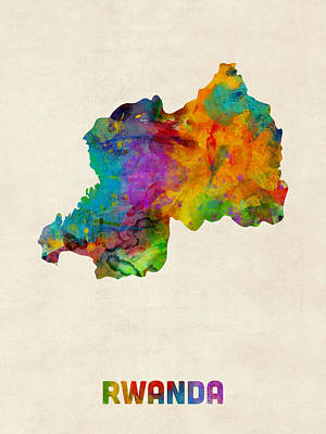 Digital Art - Rwanda Watercolor Map by Michael Tompsett