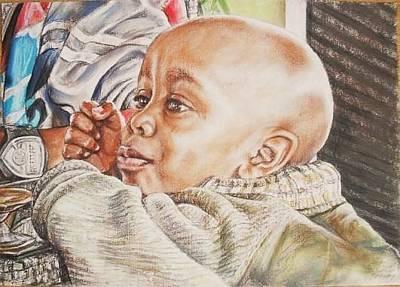 Praha Drawings Pastel - Rwandian Boy by Gordana Dokic Segedin