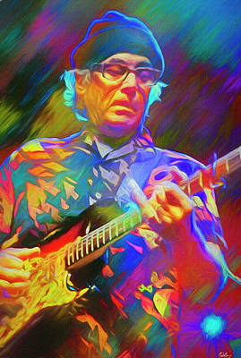 Musicians Mixed Media Royalty Free Images - Ry Cooder American Musician Royalty-Free Image by Mal Bray
