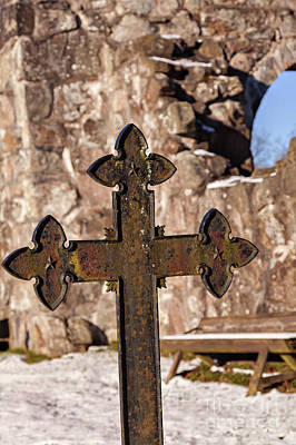 Photograph - Rya Chapel Grave Marker by Sophie McAulay