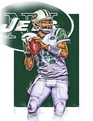 Jets Mixed Media - Ryan Fitzpatrick New York Jets Oil Art by Joe Hamilton