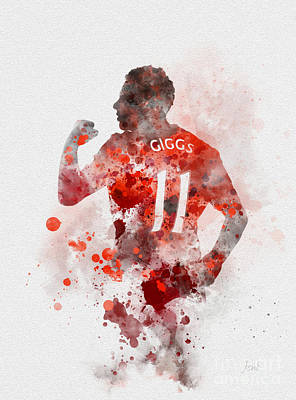 Red Devil Mixed Media - Ryan Giggs by Rebecca Jenkins