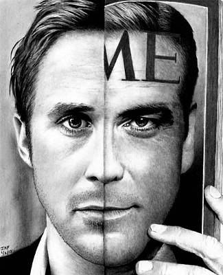 Drawing - Ryan Gosling And George Clooney by Rick Fortson