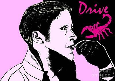 Eighties Drawing - Ryan Gosling - Drive by Lionel B
