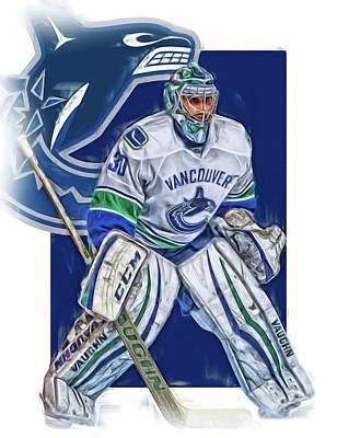 Mixed Media - Ryan Miller Vancouver Canucks Oil Art by Joe Hamilton