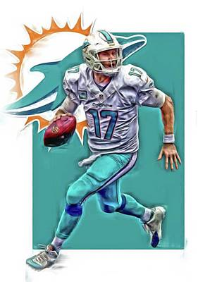 Dolphin Mixed Media - Ryan Tannehill Miami Dolphins Oil Art by Joe Hamilton