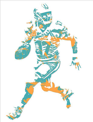 Dolphin Mixed Media - Ryan Tannehill Miami Dolphins Pixel Art 1 by Joe Hamilton