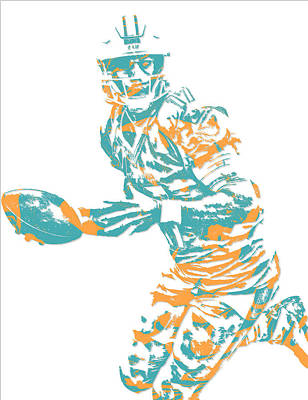 Miami Mixed Media - Ryan Tannehill Miami Dolphins Pixel Art 3 by Joe Hamilton