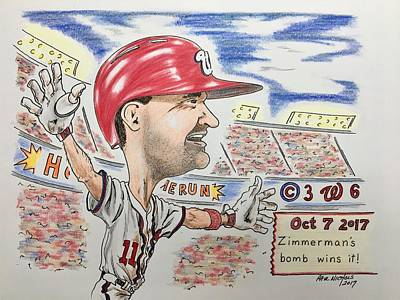 Chicago Cubs Drawing - Ryan Zimmerman Home Run by Paul Nichols