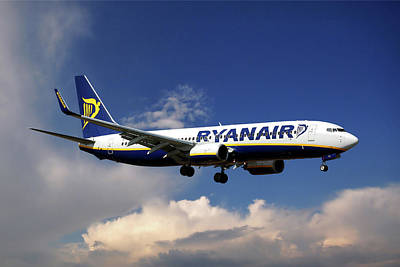 Spain Photograph - Ryanair Boeing 737-8as  by Nichola Denny