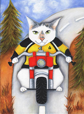 Cat Painting - Ryder On The Road by Deb Harvey