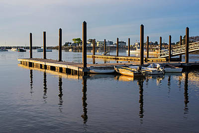 Photograph - Rye Harbor Rye Nh New Hampshire Golden Sunrise Dock by Toby McGuire