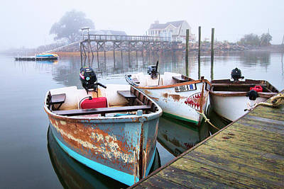 Photograph - Rye Harbor Skiffs In The Fog by Eric Gendron