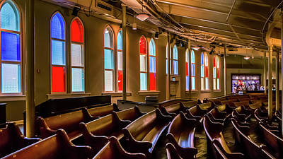Photograph - Ryman Window Pews by Glenn DiPaola