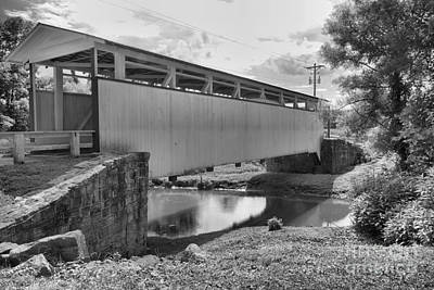 Photograph - Ryot Covered Bridge Across Dunnings Creek Black And White by Adam Jewell