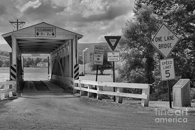 Photograph - Ryot Covered Bridge Black And White by Adam Jewell