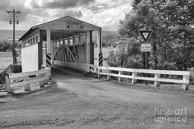 Photograph - Ryot Covered Bridge Dirt Road Black And White by Adam Jewell