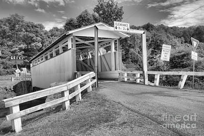 Photograph - Ryot Covered Bridge Summer Landscape Black And White by Adam Jewell