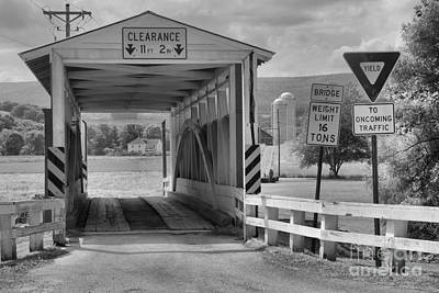 Photograph - Ryot One Lane Covered Bridge Black And White by Adam Jewell
