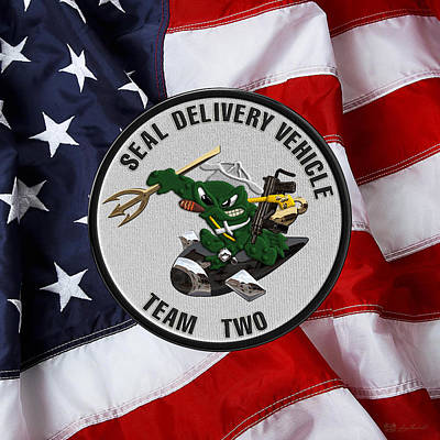 S E A L Delivery Vehicle Team Two  -  S D V T 2  Patch Over U. S. Flag Original