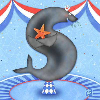 Animal Alphabet Digital Art - S Is For Seal And Starfish by Valerie Drake Lesiak