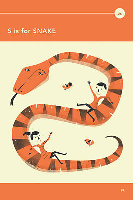 Reptiles Digital Art - S Is For Snake by Jazzberry Blue