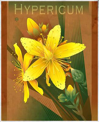 Floral Digital Art - S Johns Wort Pillow Design by Garth Glazier
