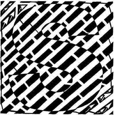 Alphabet Mazes Drawing - S Maze by Yonatan Frimer Maze Artist
