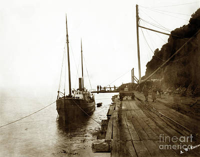 Photograph - S. S. Emily At Trinidad Wharf Built In 1887 By Whit Of San Francisco  Circa 1893 by California Views Archives Mr Pat Hathaway Archives