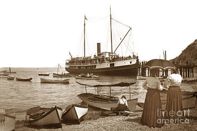 Photograph - S. S. Hermosa At The Dock In Avalon Harbor Circa 1902 by California Views Archives Mr Pat Hathaway Archives