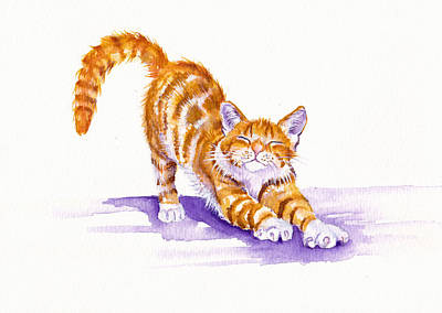 Cat Wall Art - Painting - S-t-r-e-t-c-h by Debra Hall