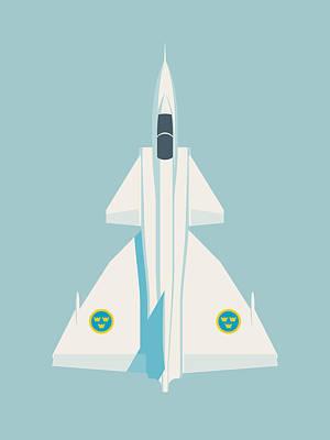 Air Force Poster Digital Art - Saab 37 Viggen Swedish Air Force Fighter Jet Aircraft - Sky by Ivan Krpan