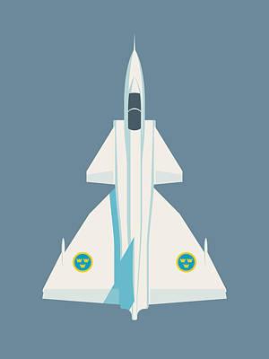 Air Force Poster Digital Art - Saab 37 Viggen Swedish Air Force Fighter Jet Aircraft - Slate by Ivan Krpan