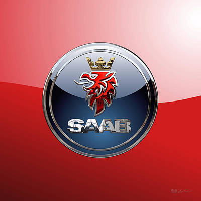 Saab - 3d Badge On Red Original