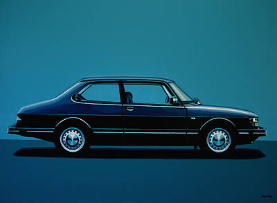 Saab 90 1985 Painting Original