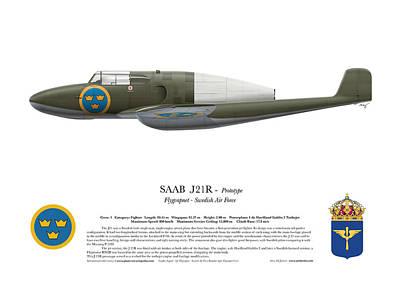 Prototype Digital Art - Saab J 21 R - Prototype -  Side Profile View by Ed Jackson