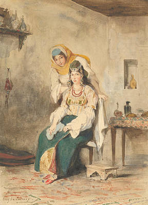 Drawing - Saada, The Wife Of Abraham Ben-chimol, And Preciada, One Of Their Daughters by Eugene Delacroix