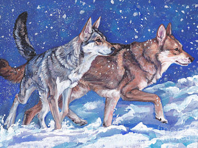 Painting - saarloos Wolfhound Wolfdog by Lee Ann Shepard