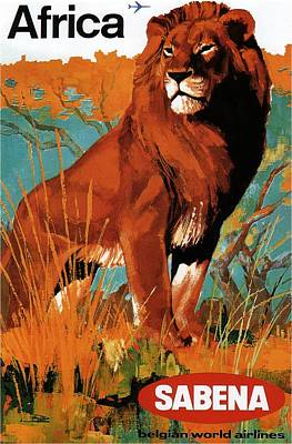 Royalty-Free and Rights-Managed Images - Sabena - Belgian World Airlines - Belgium Airport - Lion - Retro travel Poster - Vintage Poster by Studio Grafiikka