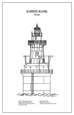 Towers Digital Art - Sabine Bank Lighthouse - Texas - Blueprint Drawing by Jose Elias - Sofia Pereira