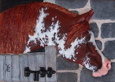 Headstudy Relief - Sabino Chestnut Arabian Horse Resin by Valerie  Evanson