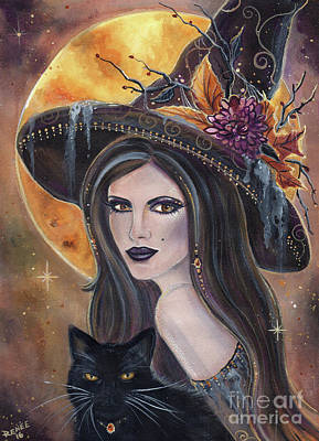 Witches Painting - Sable And Salem Halloween Witch by Renee Lavoie