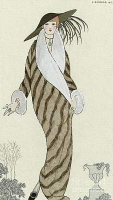 Fox Drawing - Sable Coat With White Fox Trim by Georges Barbier