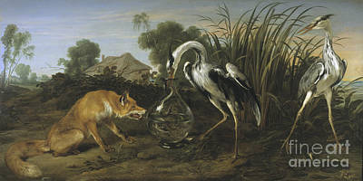 Frans Snyders Painting - Sable Of The Fox And The Heron by Celestial Images